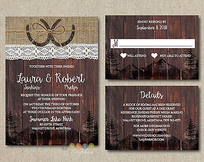 Personalized Wedding Invitations Rustic Lace Wood Rustic Country Horseshoe Suite](Wedding Invitations Rustic)