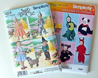 Costumes for Toddlers Dorothy, Angel, Dragon Size A Simplicity 2506 & 4024 Uncut - Sewing Patterns For Toddlers Halloween Costumes