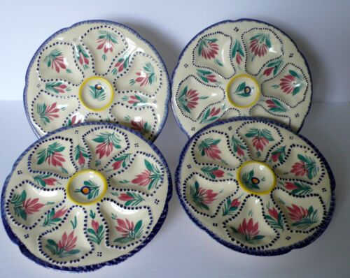 Set of 4 French QUIMPER Oyster Plates # 1