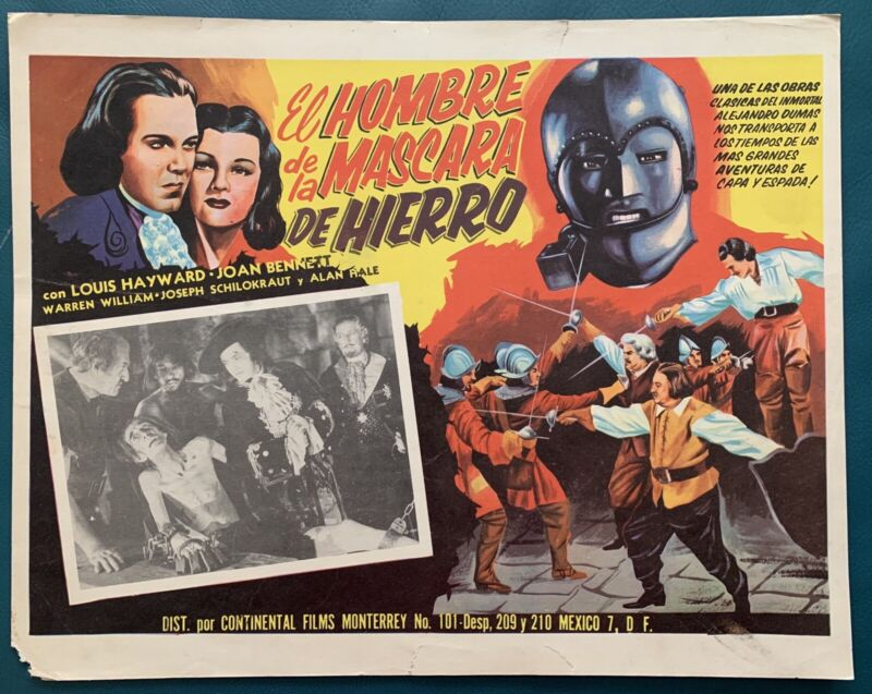 THE MAN IN THE IRON MASK Louis Hayward Joan Bennett MEXICAN LOBBY CARD 1953
