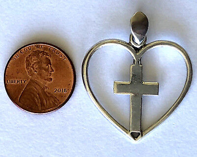 925 Sterling Silver Cross In The Heart Religious Pendant
