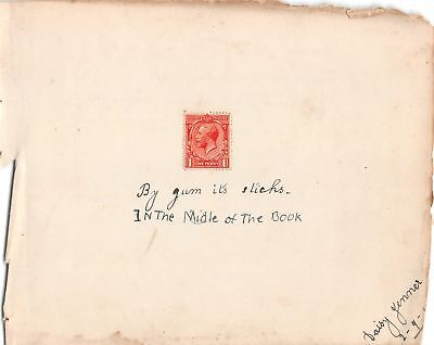 Mint Edward 1d Red Stamp Stuck on Page BY GUM IT STICKS IN'T MIDDLE OF THE BOOK