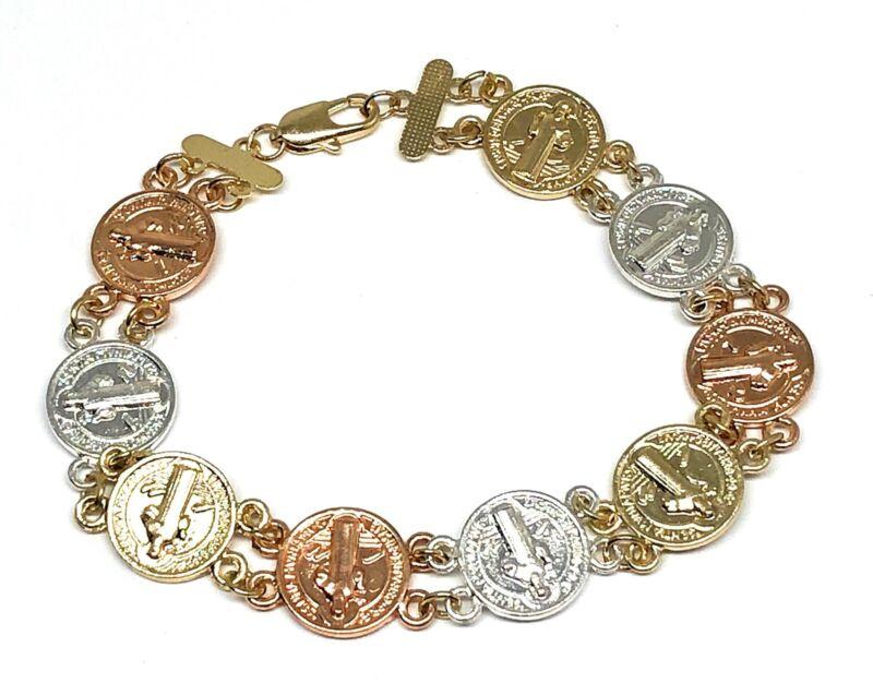 "San Benito Pulsera Saint Benedict Bracelet Oro laminado 7.5"" Tres Colores"