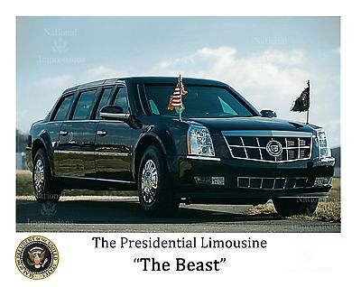 White House Presidential Limousine The Beast with Presidential Seal 8x10 Picture