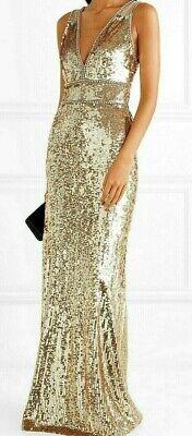 Jenny Packham Oriel Crystal Gold Sequin Long Tulle Gown Evening Dress UK 12 US 8