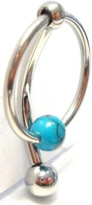 Turquoise Stone Hoop Dangle Barbell Bar VCH Clit Clitoral Hood Ring 14 gauge 14g