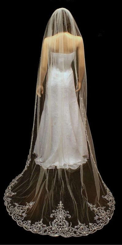 White / Ivory Cathedral Length Rhinestone Beaded Embroidered Wedding Bridal Veil