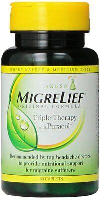Original Caplets - Migrelief Original Formula, Triple Therapy with Puracol, 60 Caplets