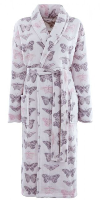 PINK PASTICHE BUTTERFLIES CORAL FLEECE SHAWL COLLAR BATH DRESSING GOWN ONE SIZE