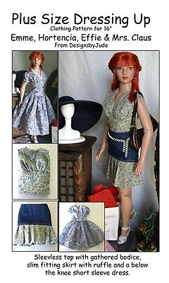 Dressing Up Doll Clothes Sewing Pattern for Emme, Hortencia Tonner