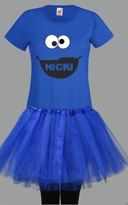 Fans Damen Kostüm T-Shirt Wunschname Tütü Tutu blue Monster  (Monster Kostüme)