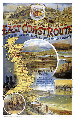 England Scotland East Coast Route London Edinburgh Inverness Plakate A3 255