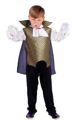 Vampir Dracula Kostüm für Kinder schwarz-weiß-gold (Dracula Kostüm Kinder)