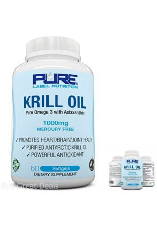 Krill Oil 1000mg with Astaxanthin 60 Caps Omega 3 6 9 - EPA