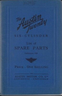 Austin Twenty 20 6 cyl original Spare Parts List 1935 Pub. No. 1226