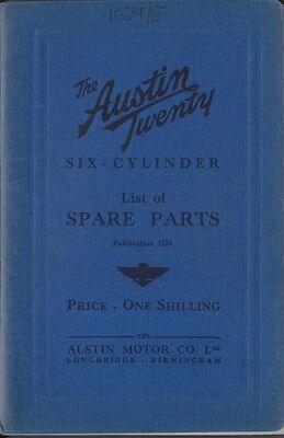 Austin Twenty 20 6 cyl original Spare Parts List 1935 Pub. No. 1226