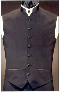 Black mandarin collar fullback formal vest with shirt and for Mens dress shirt button covers