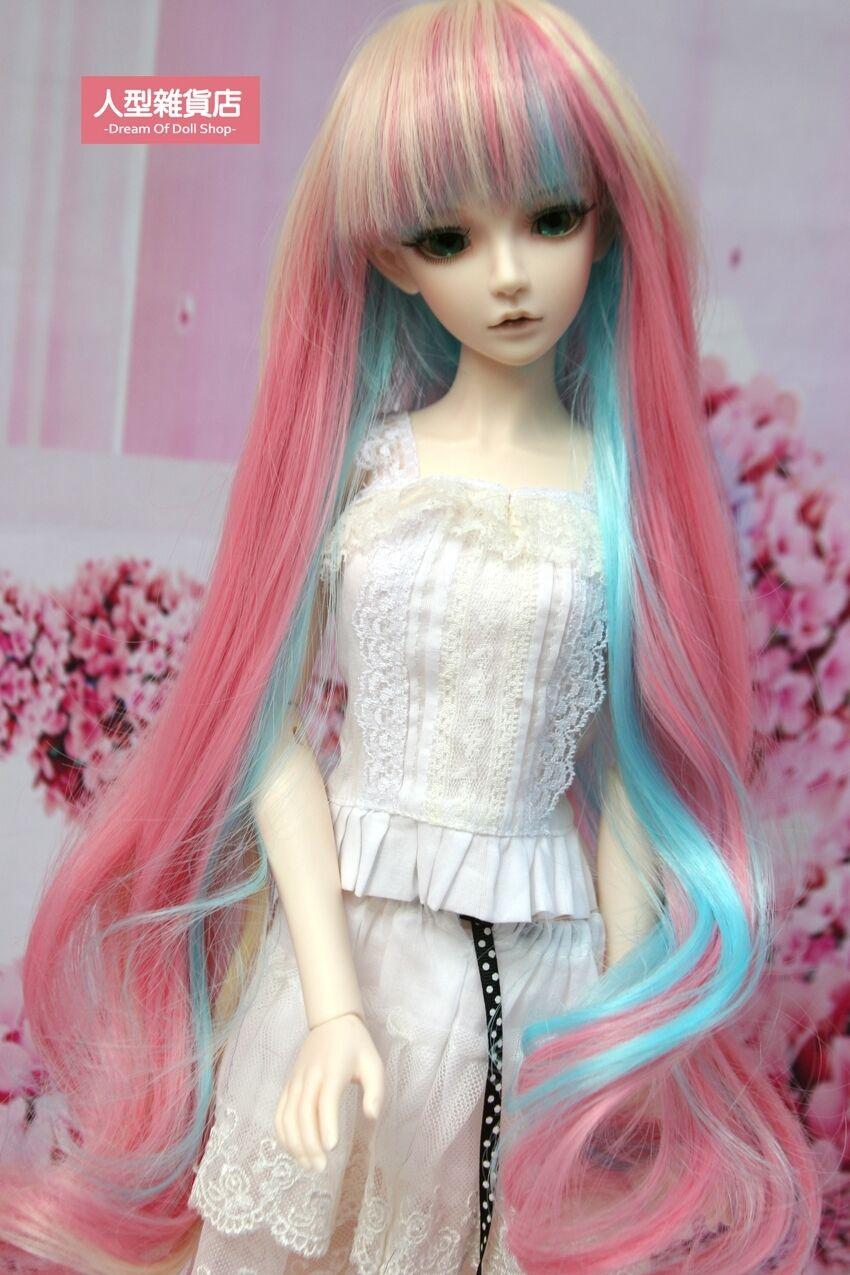 BJD Doll 1//4 7-8 Wig Long Curly Wavy Hair High Temperature Fiber Girl Grey Pink