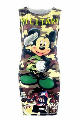 Camouflage Double Sided Printed Dress For Women Sleeveless Mickey Mouse Graphics](Mickey Mouse Dress For Women)