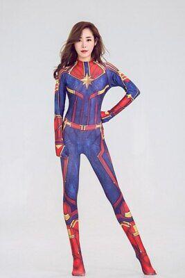 Women Avengers Captain Marvel Carol Danvers Halloween Costume Cosplay Catsuit ZG (Avengers Costumes For Women)