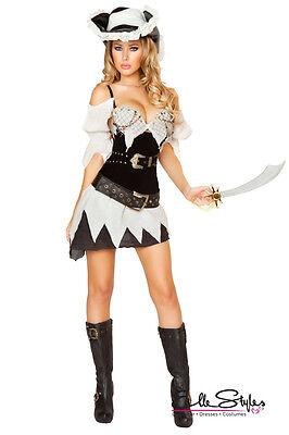 Halloween Sexy Shipwrecked Sailor Pirate Raider Costume Adult Women NEW