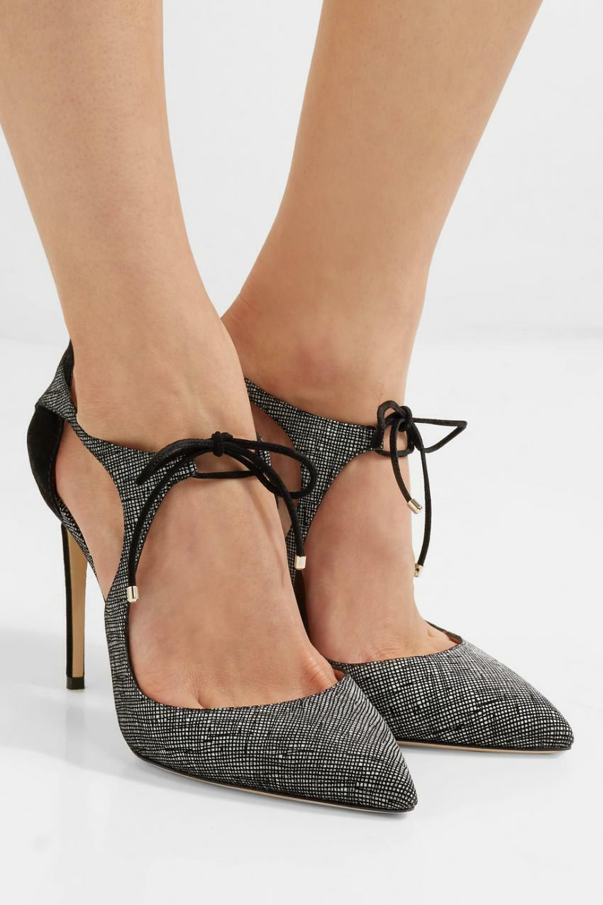 Jimmy Choo VANESSA 85 Pointy Toe Pumps Black Lace Up Heels Shoes 40 Pump