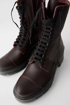 Zara Laced Leather Ankle Boots Combat Burgundy Red Lug Soles NEW 37 EU 6.5 USA