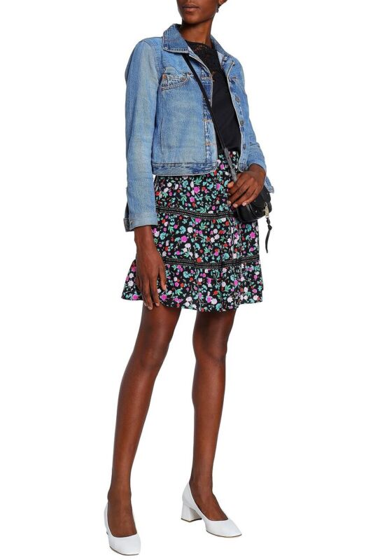KATE SPADE New York Scenic Route floral-print silk mini skirt Sz 12