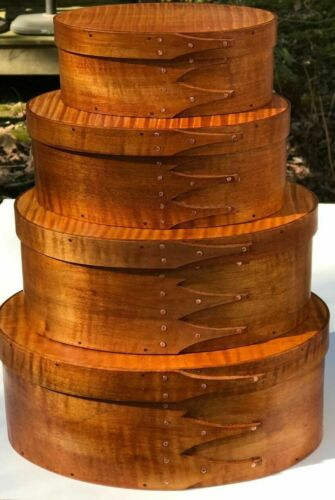 MAPLE AND  TIGER MAPLE SHAKER OVAL BOXES---STACK OF 4-----SIZES #2-5