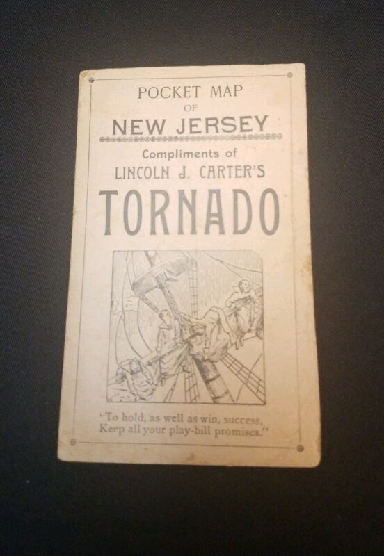 1920 Pocket Map of New Jersey Lincoln J. Carters Tornado Play