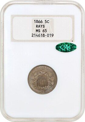 1866 5c NGC/CAC MS65 (With Rays, OH) Old NGC Holder - Shield Nickel