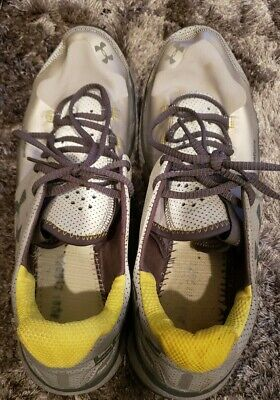 Under Armour Charge RC Mens Running Shoes Silver Gray Yellow Size 13 Heat Gear