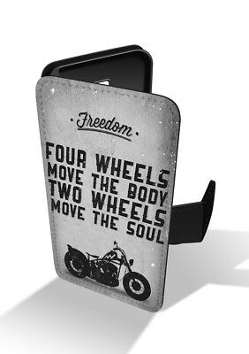 Freedom Synthetic Leather - Four Wheels Move Body Two The Soul Biker Freedom Quote Wallet Leather Phone Case