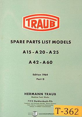 Traub A15 A20 A25 A42 Mill Spare Parts Manual 1964