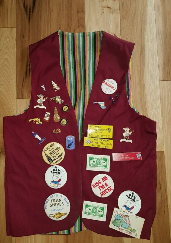 30 Jaycee Pins Maryland vintage Large collection and vest colt 45 crabs 1970