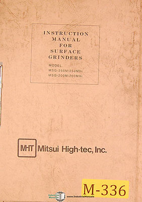 Mitsui Msg 250m250mhi Msg-200m200mhi Grinder Instructions Parts Manual