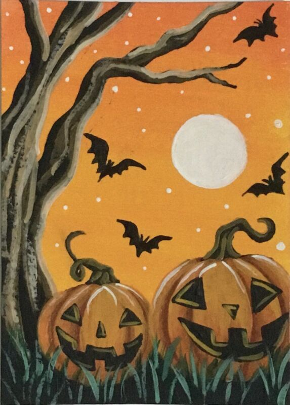 ACEO Original Halloween Mini Acrylic Sketch Card Jack-o