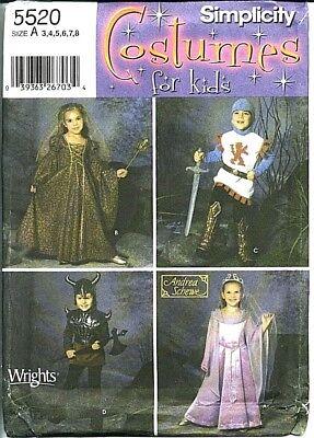 S 5520 Sewing Pattern Princess Maiden Knight Viking Renaissance Medieval Costume