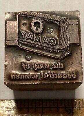 Letterpress Printing Printer Block Press Wood Type Camay Soap Bar Women Copper