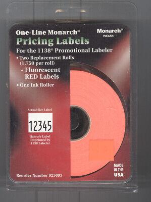 2 Rolls Genuine Avery Monarch 11361138 Plain Fluorescent Red Price Gun Labels