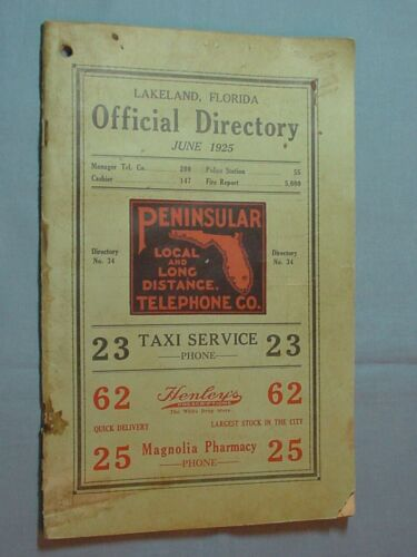 1925 Lakeland, Florida Telephone Directory - Polk County