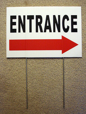 Entrance With Arrow Pointing Right 8 X12 Plastic Coroplast Sign With Stake