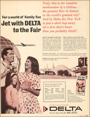 1964 vintage travel AD DELTA AIRLINES , Fly to NY Worlds Fair  022818