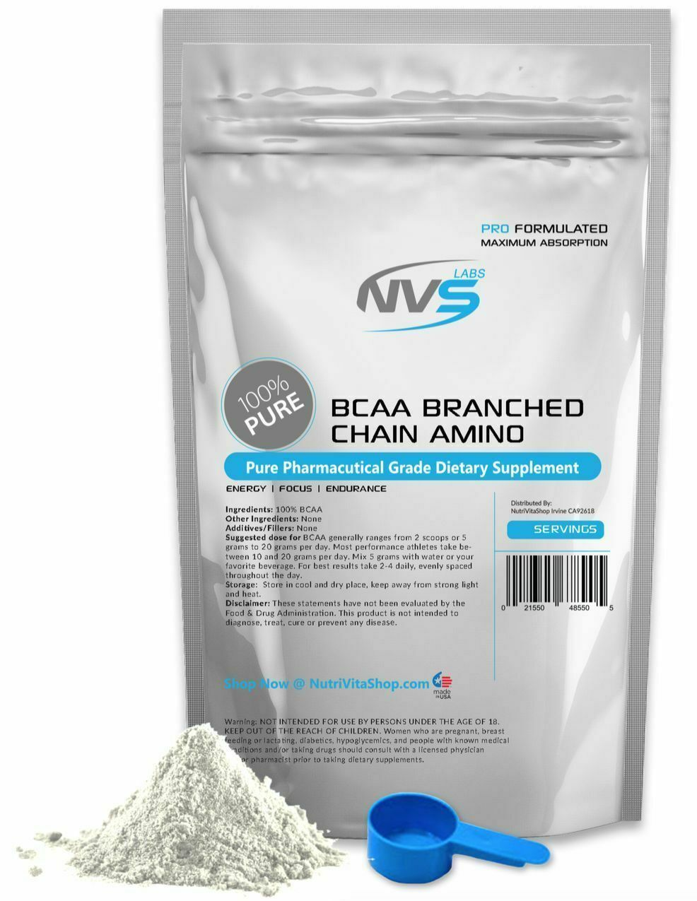 NVS 100% BRANCHED CHAIN AMINO ACIDS POWDER KOSHER - BCAA FREE FORM VEGAN NONGMO