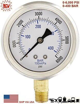 New 2-12 Hydraulic 0 - 6000 Psi Liquid Filled Pressure Test Gauge Lower Mount