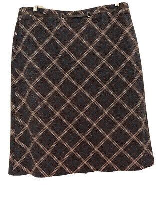 Sag Harbor A-Line Skirt Size 16 Brown & Pink Plaid Just Below The Knee