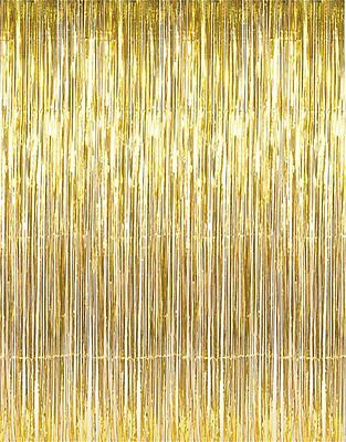 Metallic Gold Foil Fringe Curtain -6 pieces](Gold Metallic Fringe Curtain)