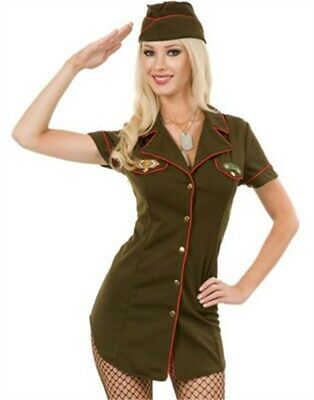 Womens Sexy Green Army Angel Soldier Officer Costume](Soldier Woman Costume)