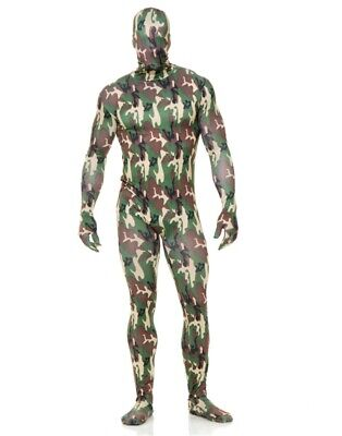 Adults Mens Womens Army Camouflage Print Bodysuit Costume](Army Costume Mens)