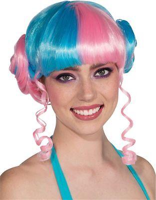 Womens Blue Pink Rave Girl Buns Leia Nicki Minaj Costume Punk Wig Cosplay Anime - Nicki Minaj Costume Halloween